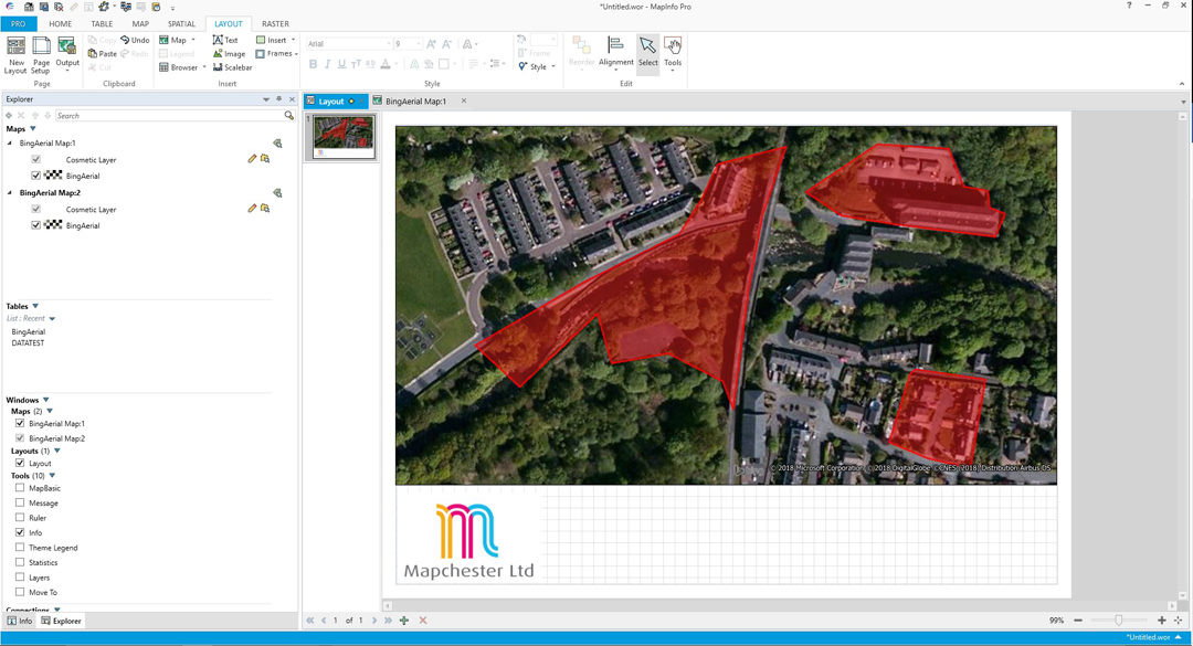 MapInfo Pro screenshot - software allows users to change styles, annotate and print different maps